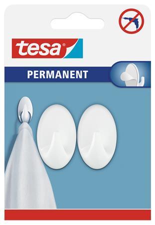Műanyag akasztó, öntapadó, ovális, S méret, TESA, fehér