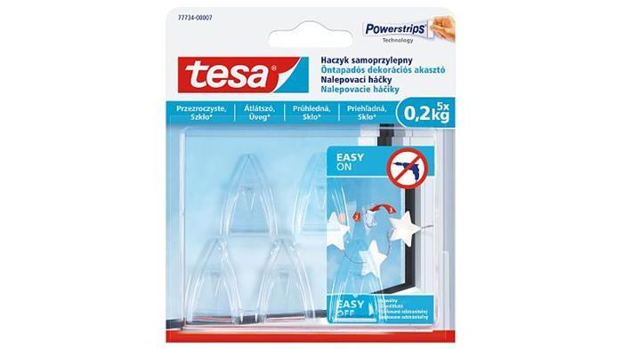 Műanyag akasztó, ragasztócsíkkal, kis méret, TESA