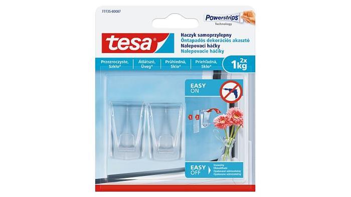 Műanyag akasztó, ragasztócsíkkal, nagy méret, TESA