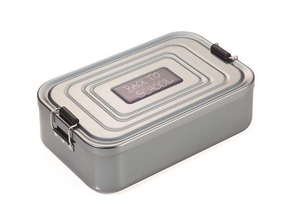 Uzsonnás doboz, kapcsos zárral, alumínium, TROIKA