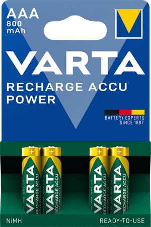 Tölthető elem, AAA mikro, 4x800 mAh, előtöltött, VARTA