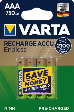 Tölthető elem, AAA, mikro, 4x750 mAh, előtöltött, VARTA,