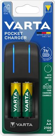 Elemtöltő, AA ceruza/AAA mikro, 4x2100 mAh AA, VARTA