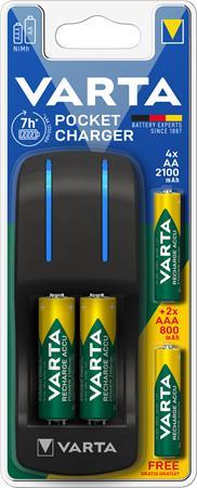 Elemtöltő, AA ceruza/AAA mikro, 4x2100 mAh AA+ 2x 800 mAh AAA, VARTA