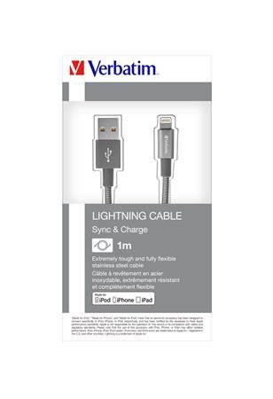 USB kábel, lightning, 1 m, VERBATIM, szürke
