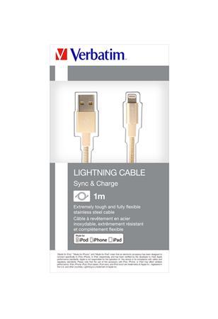 USB kábel, lightning, 1 m, VERBATIM, arany