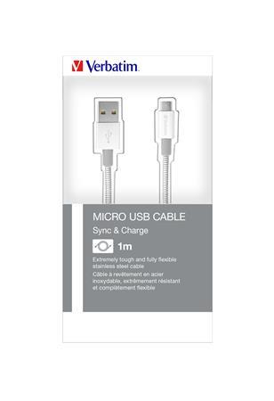 USB kábel, USB - micro USB, 1 m, VERBATIM, ezüst