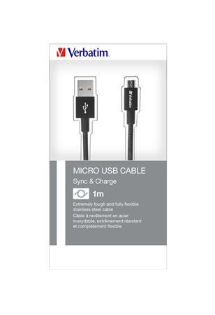 USB kábel, USB - micro USB, 1 m, VERBATIM, fekete