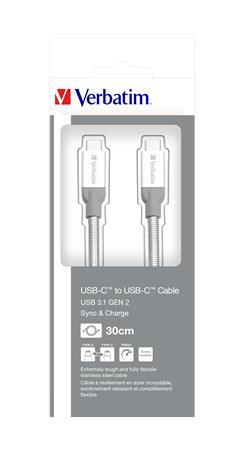 USB kábel, USB-C 3.1 - USB-C , 30 cm, VERBATIM, ezüst