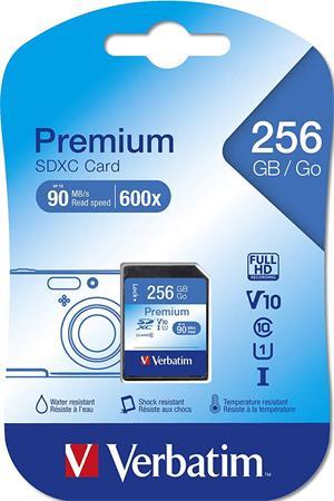 Memóriakártya, microSDXC, 256GB CL10/U1, adapter, VERBATIM