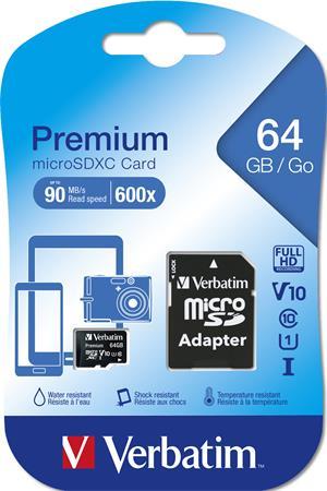 Memóriakártya, microSDXC, 64GB, C10/U1, 45/10 MB/s, adapter, VERBATIM