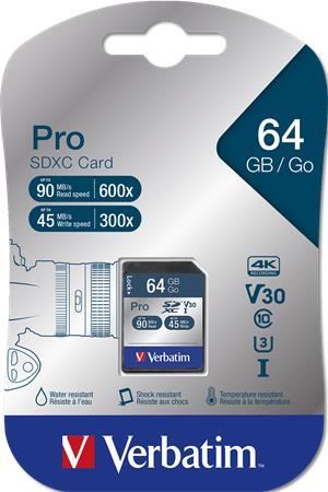 Memóriakártya, SDXC, 64GB, C10/U3, 90/45MB/sec, VERBATIM