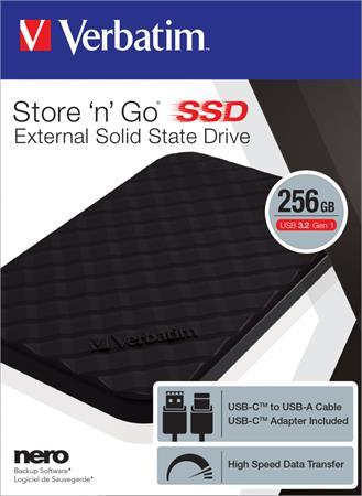 SSD (külső memória), 256GB, USB 3.2 VERBATIM,