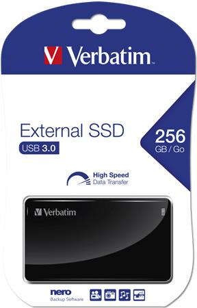 SSD (külső memória), 256GB, USB 3.0 VERBATIM, fekete
