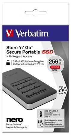 SSD (külső memória), 256GB, USB 3.1, 256 bit AES hardveres titkosítás, GDPR, VERBATIM,
