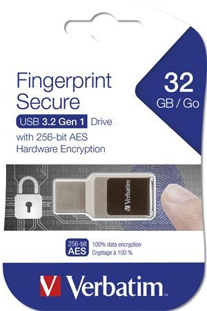 Pendrive, 32GB, USB 3.0, Bluetooth és ujjlenyomat védelem, VERBATIM