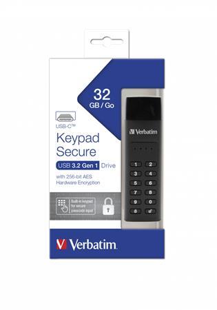 Pendrive, 32GB,  jelszavas titkosítás, 160/130Mb/s, USB-C 3.1, VERBATIM