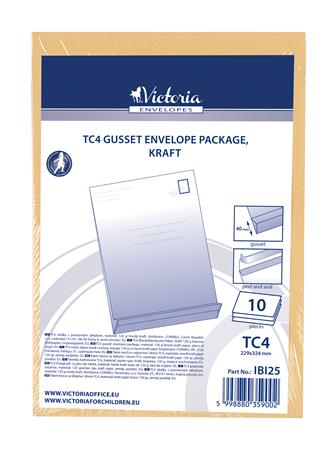 Manilla envelope package, TC4, peel and seal, 40 mm thick, VICTORIA, brown kraft
