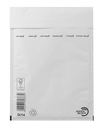 Bubble-lined bag, external size: 200x275 mm, internal size: 180x265 mm, VICTORIA, white