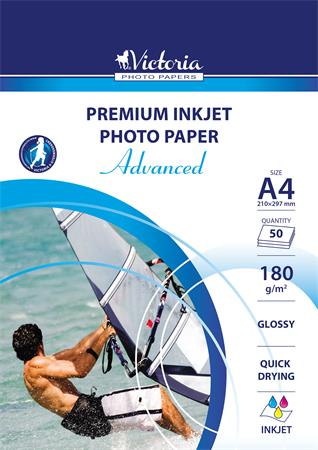 Photo paper, inkjet, A4, 180 g, glossy, VICTORIA