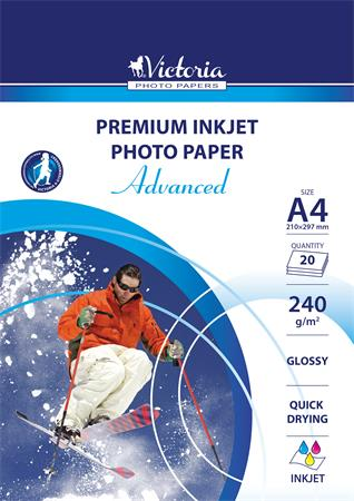 Photo paper, inkjet, A4, 240 g, glossy, VICTORIA