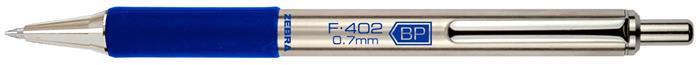 Golyóstoll, 0,24 mm, nyomógombos, rozsdamentes acél, kék tolltest, ZEBRA